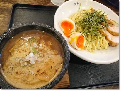 丸和つけ麺 並盛 全のせ+ごはん(サービス)