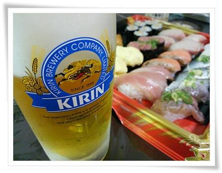 ビールとお寿司♪